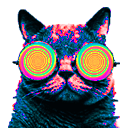 Cat wearing swirly retro sunglasses