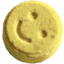 Pressed pill with happy face